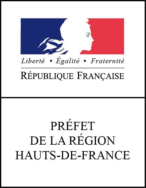 Bloc marque vertical Préfet de la région Hauts-de-France RVB
